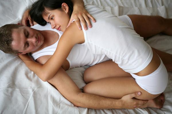 Woman with boyfriend having sex