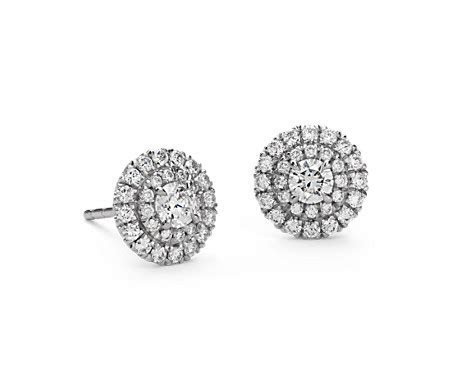 Double Halo Diamond Stud Earrings in 18k White Gold (3/4