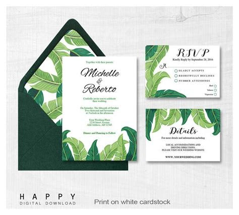 tropical leaves wedding invitation bundle pcs happy