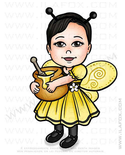 caricatura desenho, caricatura personalizada, caricatura temática, caricatura abelhinha, caricatura infantil, by ila fox