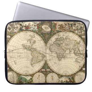 Antique 1660 World Map by Frederick de Wit Laptop Sleeves