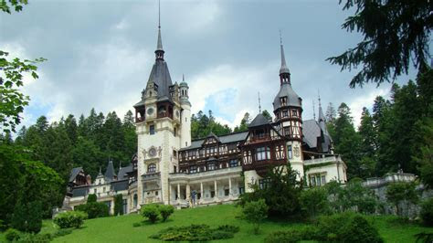 full hd wallpaper peles castle front view gothic romania