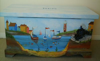 Toy box with harbor scene