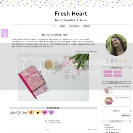 Fresh Heart Blogger Template by El Design