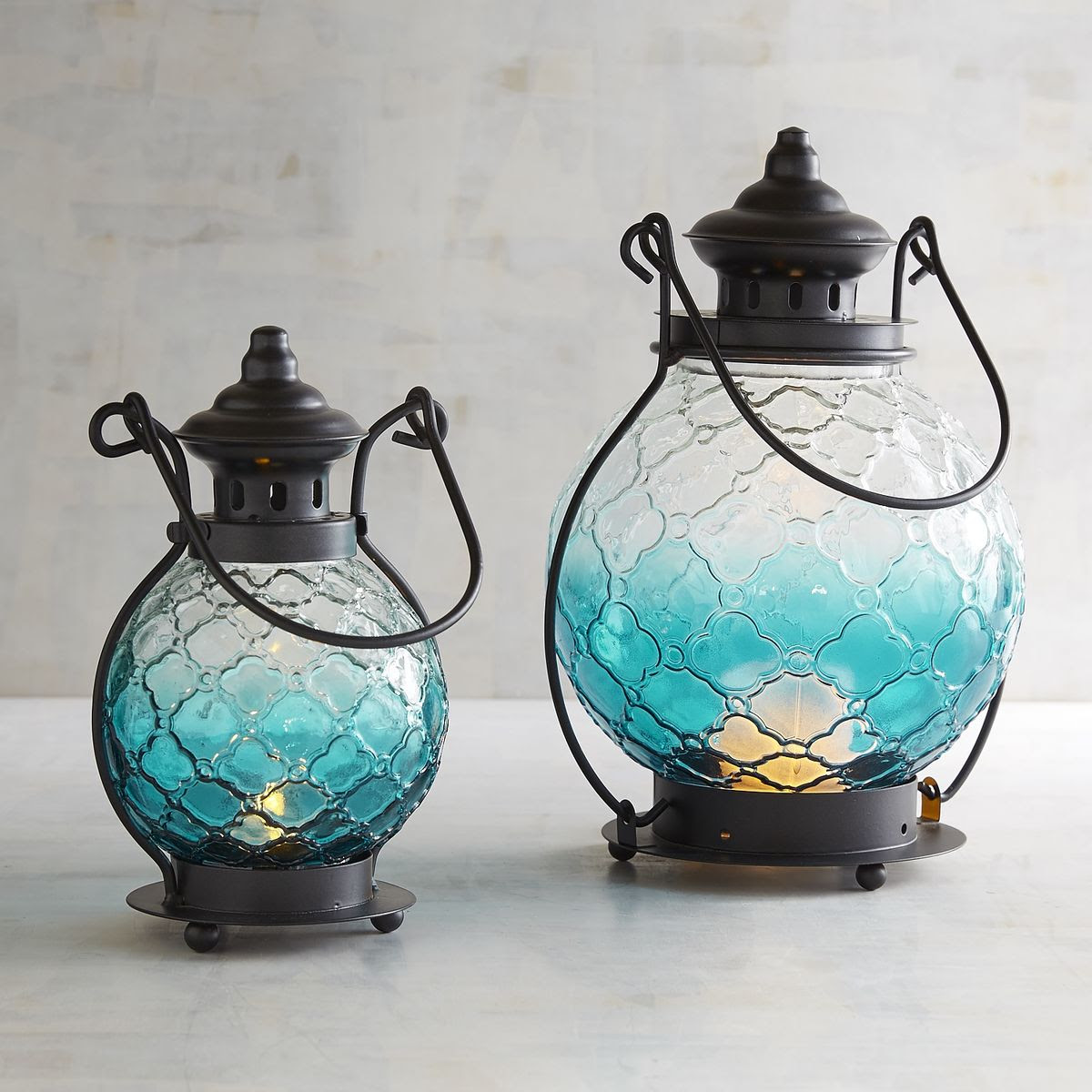 Teal Ombre Medallion Glass Lanterns | Everything Turquoise
