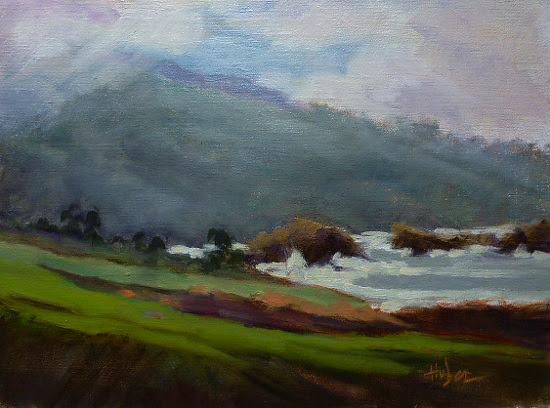 Receding Fog near Rocky Point by Patricia Huber Oil ~ 9 x 12