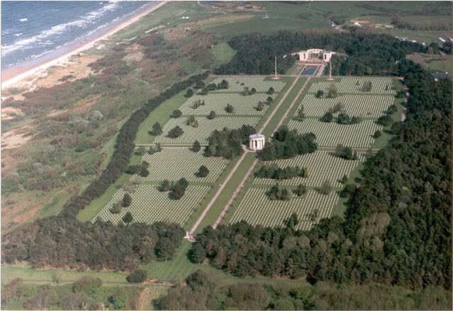 Normandy American Cemetery as viewed from the air. More than 9,000 Americans are buried here.