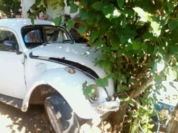 Condutor perdeu controle do fusca e bateu em árvore (Foto: Ederluiz.com/Divulgação)