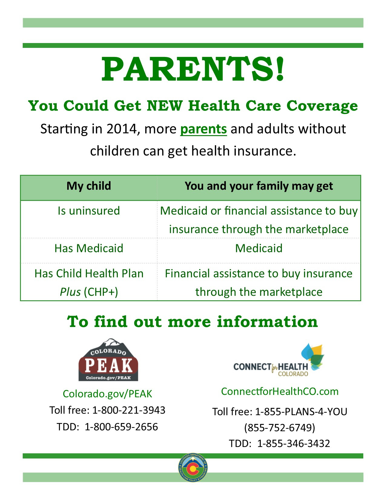 I need health insurance. | colorado.gov/health