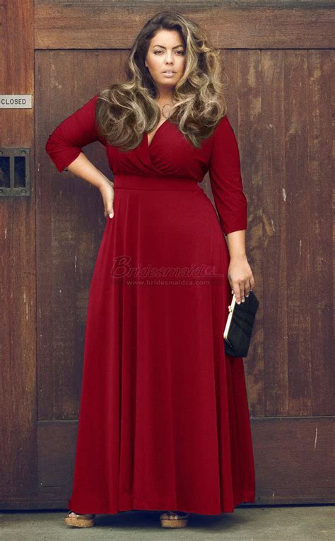 Burgundy Long Knitwear V Neck Plus Size Bridesmaid Dress