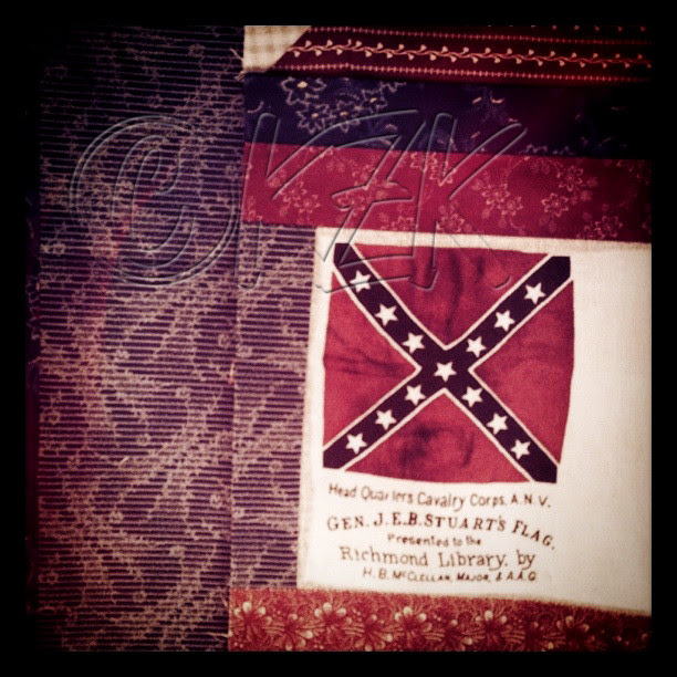 "IMG_3043 Gettysburg Battle Flag quilt block ""antiqued"" block"