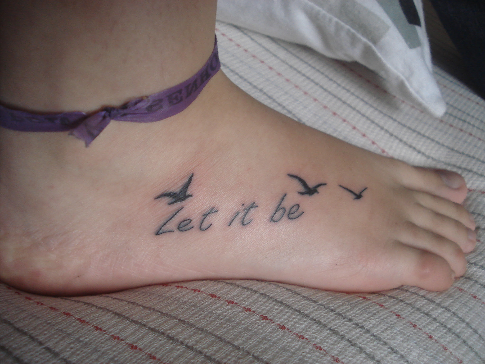 Flying Birds And Let It Be Foot Tattoo