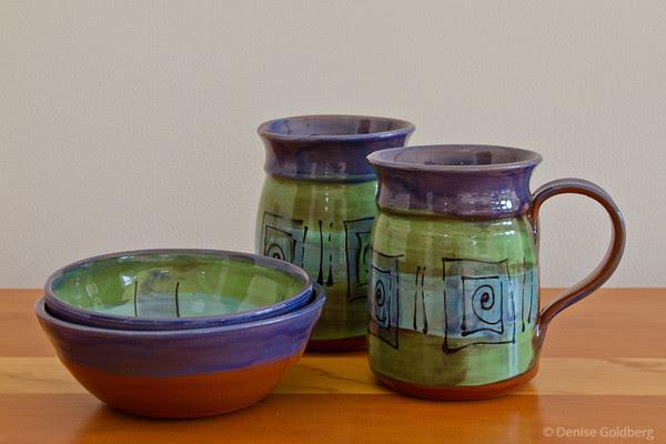 2 mugs, 2 bowls... created by artist Nan Kilbourn-Tara