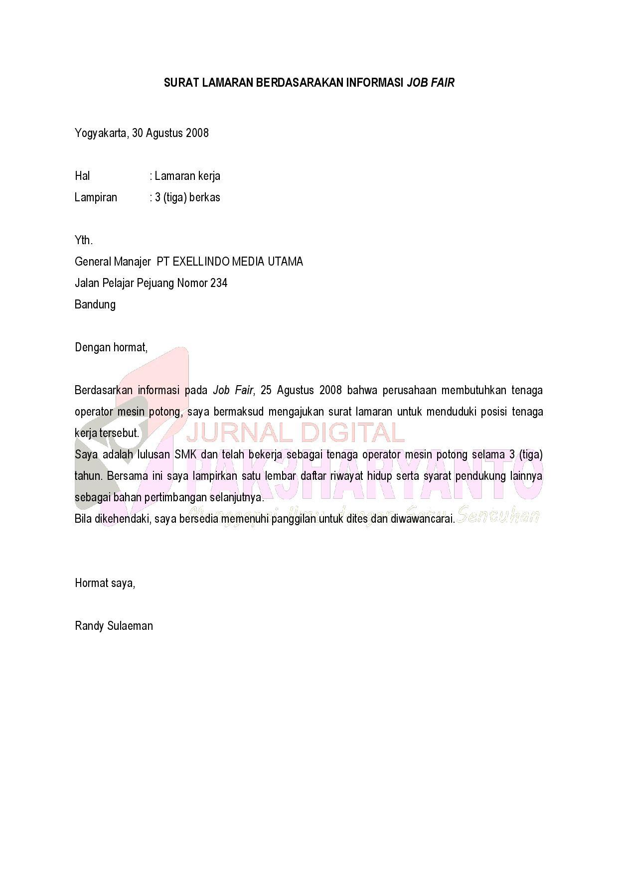 Contoh Surat Lamaran Kerja Kelas Xii - Zentoh