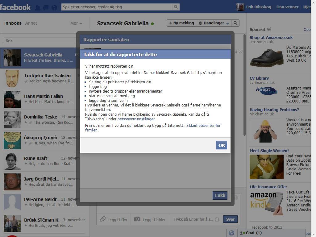 rapport til facebook