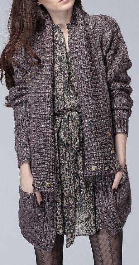Wine Dinah Studded Wool-Blend Open Cardigan