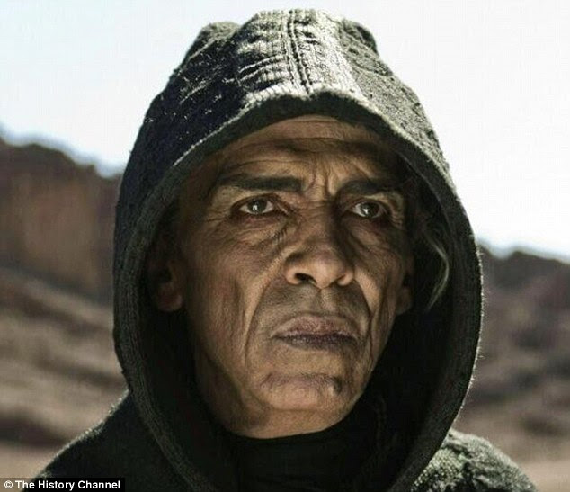 Spooky: Scenes with the devil have been cut from the upcoming spin off of The Bible because of the actor, pictured in the miniseries, has an uncanny resemblance to President Barack Obama