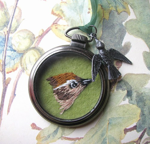 Hand Embroidered Wren Pocket Watch Pendant by Handmade and Heritage