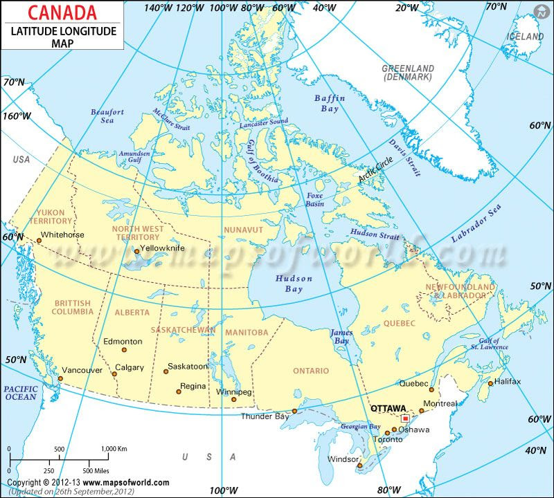 Canada Latitude And Longitude Map Projects To Try