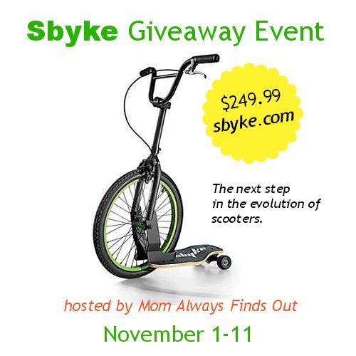Enter to win a $250 Sbyke. Giveaway ends 11/11.