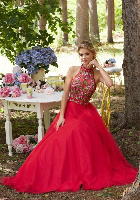 Soft Tulle Prom Gown w. Floral Embroidered Bodice   Style