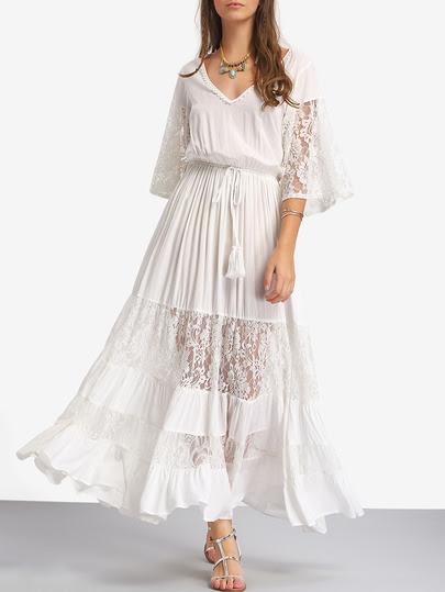 White Lace V Neck Tie Waist Maxi Dress pictures
