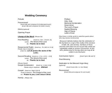 9  Wedding Ceremony Templates   Free PDF, DOC, InDesign