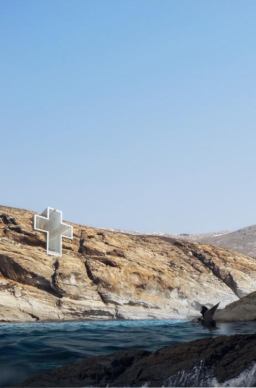 Renders de Lux Aeterna, a igreja no penhasco de OPA. Imagem cortesia de OPA