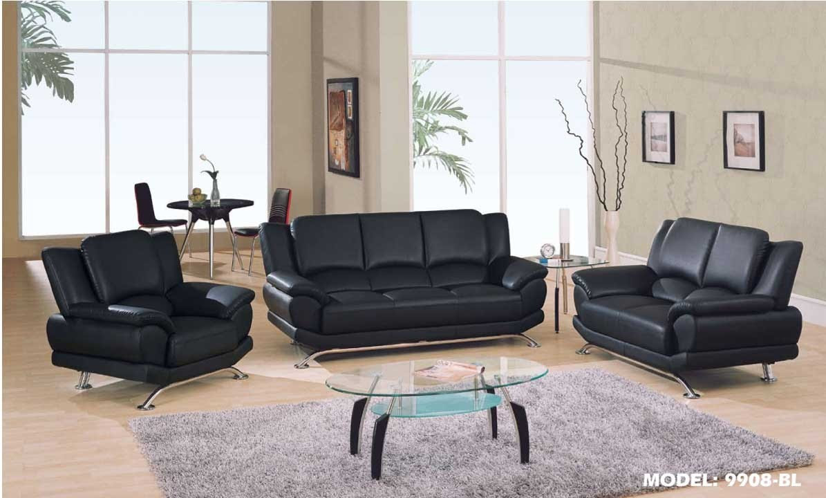 Modern Black Leather Sofa With Chrome Legs