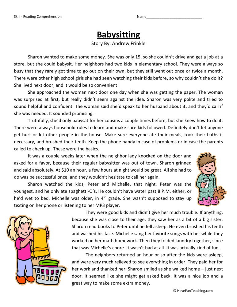 Reading Prehension Worksheet Babysitting