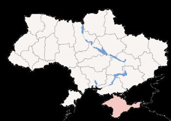 Political map of Ukraine, highlighting Crimean...