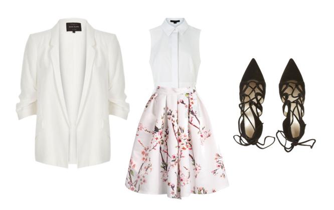 sleeveless blouse circle skirt summer work outfit idea