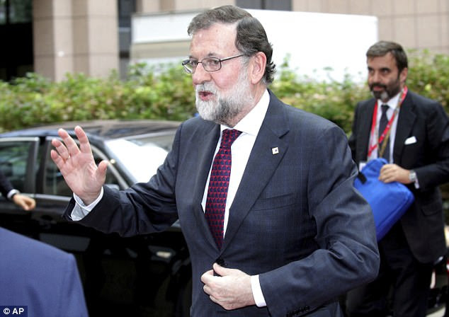 Prime Minister Mariano Rajoy (pictured) told Parliament that invoking constitutional authority over Catalonia was the 'only possible' way to bring the region back in line with Spanish law
