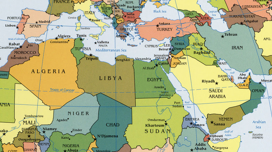World Map Of Africa And Middle East Map Of Africa