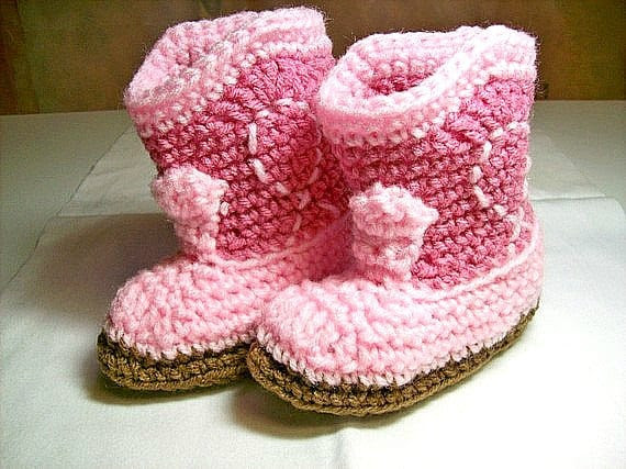 Cowgirl Baby Booties  -  Rose & Pink  PLEASE STATE SIZE