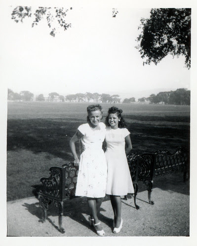 Holli with Thelma at park bench L655