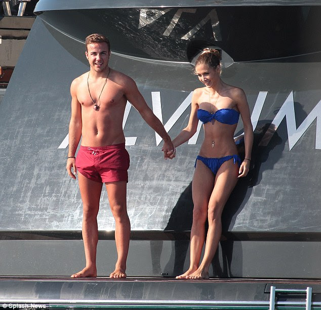 Holidays: Between trips to the flamingo filled beaches of Hawaii, Ibiza (pictured above) the Maldives and London, Germany's sexiest WAG also finds time for gym sessions to keep in shape and reunions with her man