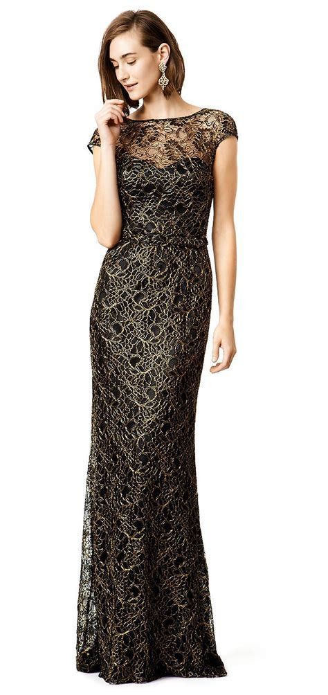 Black and Gold Lace Evening Gown   Wedding Guest Dresses