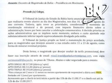 TJ-BA desiste de pagar diárias em hotel de luxo para juízes após repercussão negativa