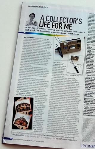 Amateur Photographer column about the Minolta Disc 7 camera by pho-Tony