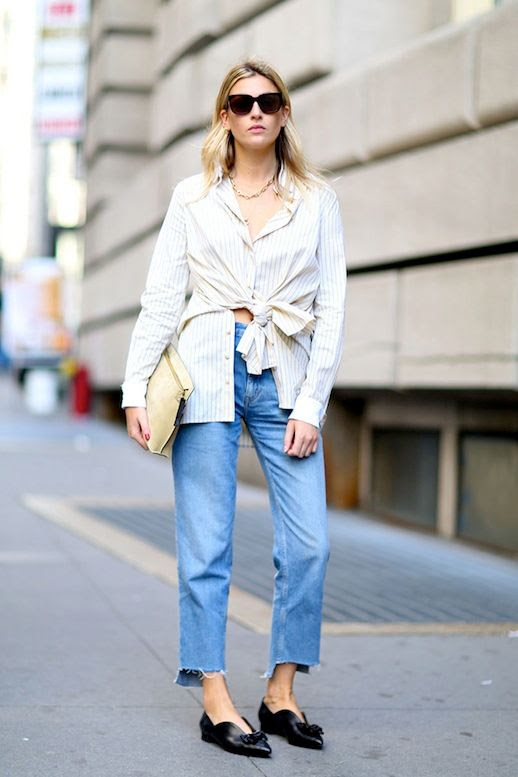 Le Fashion Blog Street Style Chain Necklace Striped Tie Front Shirt Raw Hem Jeans Black Knotted Pointed Toe Flats Via Stylecaster