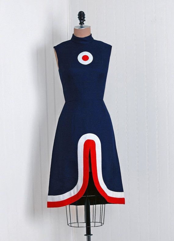 1960's Vintage Mod-Target Red White Blue Linen-Cotton Couture Space-Age Sleeveless Nipped-Waist Stewardess Block-Color Mini Party Sun Dress