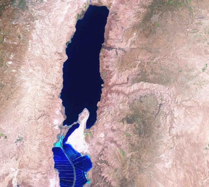 Вид Мертвого моря на карте