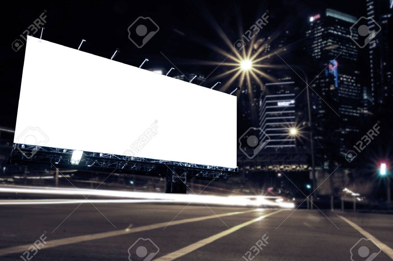Blank Billboard At Night Time For Advertisement City Street Night ...