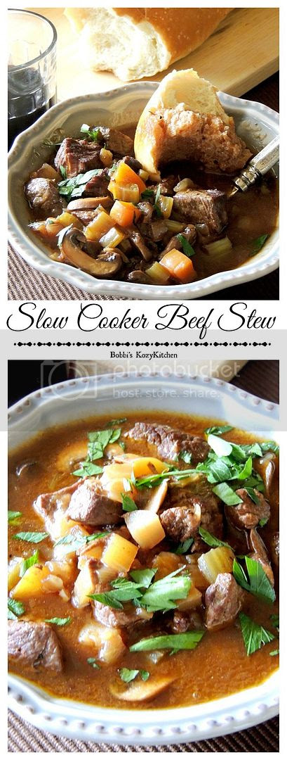 Slow Cooker Beef Stew - Red wine, mushrooms, and tender chunks of beef, make this the ultimate slow cooked beef stew from www.bobbiskozykitchen.com