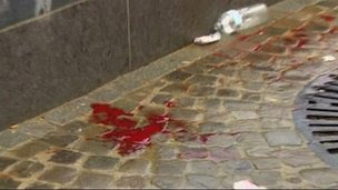 Blood near the scene of the attack