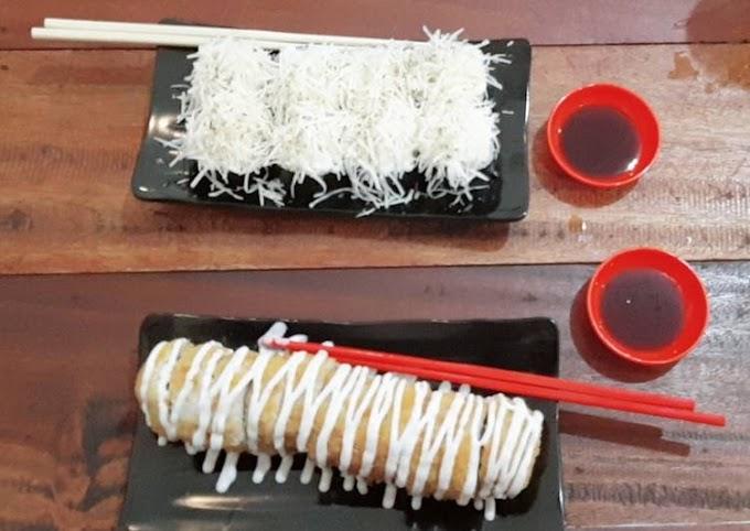 Bagaimana Menyiapkan Sushi salmon spicy cheese dan crispy salmon roll yang Enak Banget