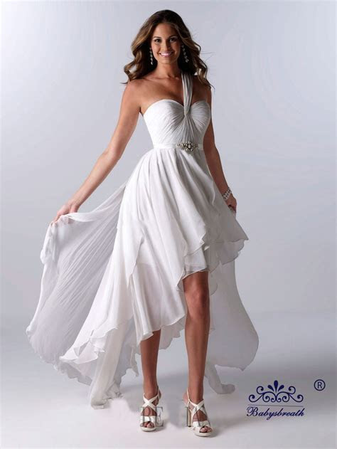 Hot Selling White Chiffon One Shoulder High Low Short