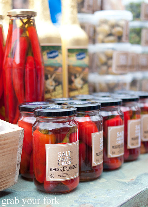 preserved red jalapenos at the grounds of alexandria markets