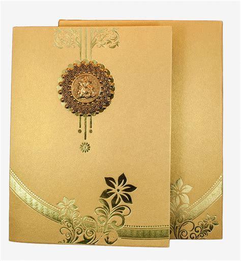 Hindu Wedding Card in Golden with Floral Design & Ganesha